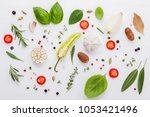 various fresh herbs for cooking ... | Shutterstock . vector #1053421496