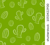 seamless pattern with cactus.   Shutterstock .eps vector #1053422930