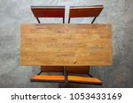 Wood Table With Chair On Retro...