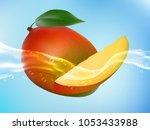 tasty ripe mango in clean water.... | Shutterstock .eps vector #1053433988