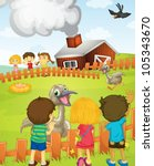 illustration of kids at the farm | Shutterstock .eps vector #105343670