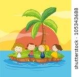 illustration of kids on an... | Shutterstock .eps vector #105343688