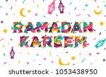 ramadan kareem typographic... | Shutterstock .eps vector #1053438950