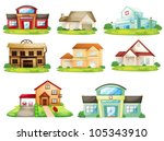 illustration of houses  and... | Shutterstock .eps vector #105343910