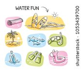 icon set summer beach holidays  ... | Shutterstock .eps vector #1053439700