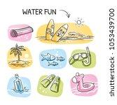 icon set summer beach holidays  ...   Shutterstock .eps vector #1053439700
