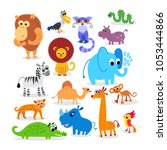 wild africa animals set in flat ...   Shutterstock .eps vector #1053444866