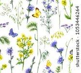 hand drawn floral seamless...   Shutterstock . vector #1053446264