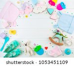 baby shower party background ... | Shutterstock . vector #1053451109