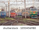 view on the railway track with... | Shutterstock . vector #1053456980