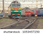 view on the railway track with... | Shutterstock . vector #1053457250
