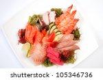 assorted sashimi great. salmon  ... | Shutterstock . vector #105346736