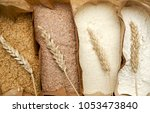 different flour of wheat cereal ... | Shutterstock . vector #1053473840