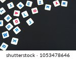 english colored square letters... | Shutterstock . vector #1053478646