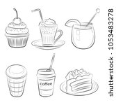 food cafe set morning breakfast ... | Shutterstock .eps vector #1053483278