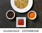 various spices and seeds with... | Shutterstock . vector #1053488168