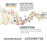 music notes on a solide white... | Shutterstock .eps vector #1053489728