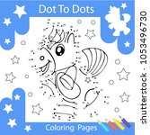 worksheets dot to dots with... | Shutterstock .eps vector #1053496730