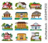 villa vector facade of house... | Shutterstock .eps vector #1053499253