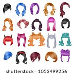 woman hairstyle wigs vector... | Shutterstock .eps vector #1053499256