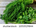 fresh herbs dill  parsley ... | Shutterstock . vector #1053529844