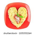 I love Pasta / Spaghetti isolated on white / Heart Shape - stock photo