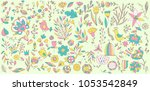 big set doodle elements flower... | Shutterstock .eps vector #1053542849