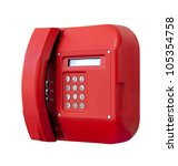 payphone red color isolated on...   Shutterstock . vector #105354758