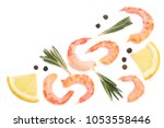 red cooked prawn or shrimp with ... | Shutterstock . vector #1053558446