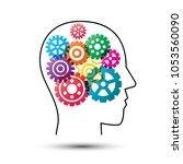 colorful gear wheels in head ... | Shutterstock .eps vector #1053560090