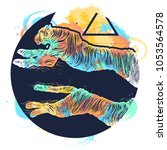 running cheetah color attoo ...   Shutterstock .eps vector #1053564578