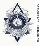 whale and compass tattoo | Shutterstock .eps vector #1053564890