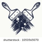 brush draws universe tattoo and ... | Shutterstock .eps vector #1053565070