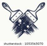 brush draws universe tattoo and ...   Shutterstock .eps vector #1053565070