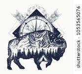 bison double exposure  compass  ... | Shutterstock .eps vector #1053565076
