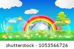 spring season  grass flower... | Shutterstock .eps vector #1053566726