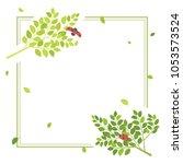 fresh leaf and ladybug vector... | Shutterstock .eps vector #1053573524