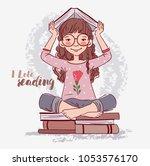 cute  little girl with books | Shutterstock .eps vector #1053576170