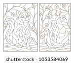 set of contour stained glass... | Shutterstock .eps vector #1053584069