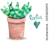 watercolor cactus. bright green....   Shutterstock .eps vector #1053602693