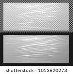 realistic transparent plastic... | Shutterstock .eps vector #1053620273
