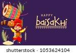 illustration of happy baisakhi... | Shutterstock .eps vector #1053624104