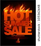 Fiery hot summer sale design template. Eps10 Vector.