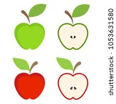 set of red and green apple... | Shutterstock .eps vector #1053631580