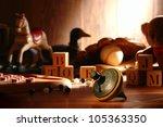 nostalgic antique wooden... | Shutterstock . vector #105363350