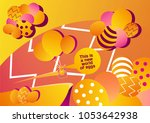 the world of easter eggs with... | Shutterstock . vector #1053642938