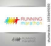 running people. colorful vector ... | Shutterstock .eps vector #1053645050