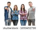 the four people thumb down on...   Shutterstock . vector #1053652730