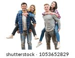 the two couples fun on the... | Shutterstock . vector #1053652829