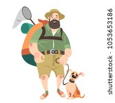 funny man with a dog travel in... | Shutterstock .eps vector #1053653186